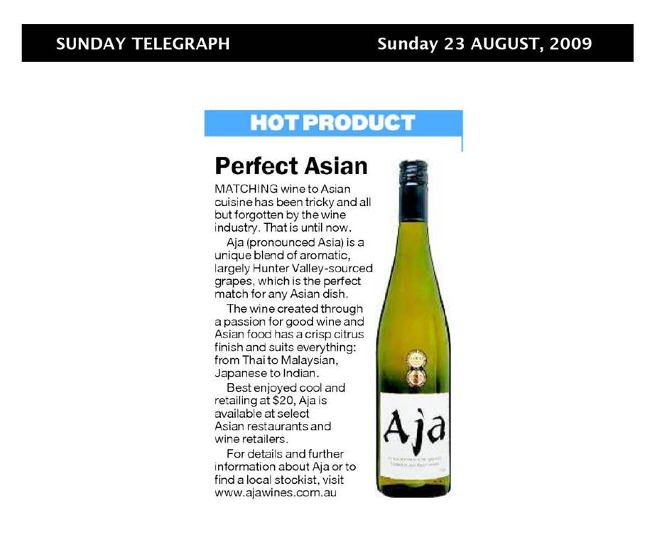 Aja australian white wine in the news for Aja asian cuisine menu